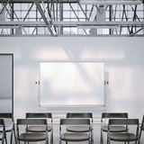 Blank whiteboard in modern conference room. 3d rendering. Blank whiteboard in modern conference room with black chairs. 3d rendering Stock Photos