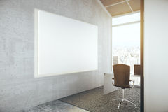 Blank whiteboard in office. Side view of blank whiteboard in concrete office interior with city view. Mock up, 3D Rendering Royalty Free Stock Photography
