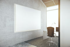 Blank whiteboard in office. Side view of blank whiteboard in concrete office interior with no view. Mock up, 3D Rendering Royalty Free Stock Image