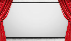 Blank whiteboard with red curtains. 3d rendering. Blank whiteboard with red curtains on sides. Mock up. 3d rendering Stock Photo