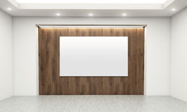 Blank whiteboard in room. Concrete interior with blank whiteboard on wooden wall. Mock up, 3D Rendering Stock Photography