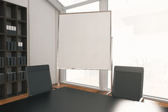 Blank whiteboard stand in room. Closeup of blank whiteboard stand in conference room interior with no view. Mock up, 3D Rendering Royalty Free Stock Photos