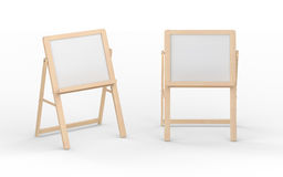Blank  whiteboard stand with wooden frame, clipping path include. Blank  whiteboard stand with wooden frame isolated on white, clipping path included Stock Images