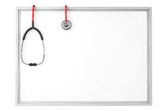 A blank whiteboard with a stethoscope Stock Photography