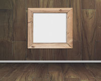 Blank whiteboard with wood frame on hardwood wall Royalty Free Stock Images