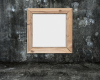 Blank whiteboard with wooden frame on dark mottled concrete room Stock Photos