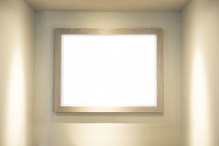 Blank whiteboard with wooden frame in lighting room background Stock Image