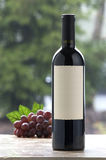 Blank wine label. Wine bottle with blank label, grapes and outdoor background Royalty Free Stock Photos