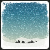 Blank Winter Scene Retro Card With Copyspace Stock Photo