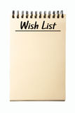 Blank Wish List. Notebook isolated on white background Royalty Free Stock Images