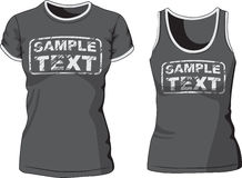 Blank Women's t-shirt and singlet. Vector Stock Photography