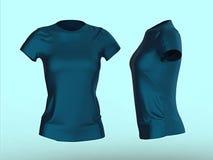 blank women T-shirt template isolated 3d render.Promo girls uniform mockup. render Stock Photos