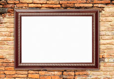 Blank wood frame on brick stone wall Royalty Free Stock Photography