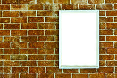 Blank wood frame on brick wall Royalty Free Stock Photos