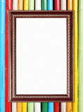Blank wood frame on colorful bamboo wall Stock Photos