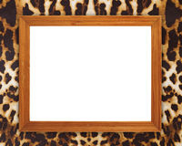 Blank wood frame on leopard texture Royalty Free Stock Photos