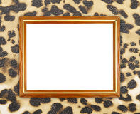 Blank wood frame on leopard texture Royalty Free Stock Photography