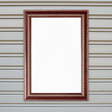 Blank wood frame on metall door texture Stock Images