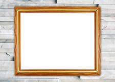 Blank wood frame on modern marble wall stock photos
