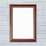 Blank wood frame on modern rectangular texture wall Royalty Free Stock Photos