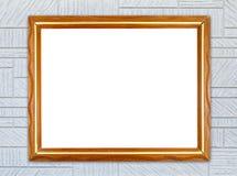 Blank wood frame on modern rectangular texture wall Stock Photo