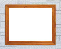 Blank wood frame on modern rectangular texture wall Stock Photo