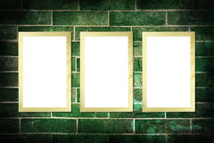 Blank wood frame on vintage brick wall Royalty Free Stock Photography