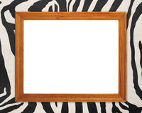 Blank wood frame on zebra texture Royalty Free Stock Photography