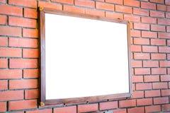 .Blank wood sign on brick wall Stock Photos
