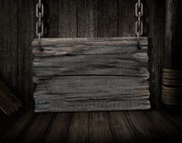 Blank wood sign over old ship desk scene Stock Photos