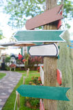 Blank wood Signs in garden Stock Image