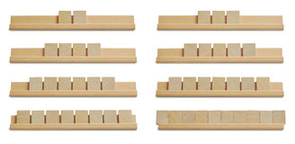 Blank wood tiles. Collection of blank wood tiles on white background stock photography