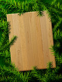 Blank wooden board against pine branches Stock Photos