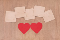 Blank wooden boards and two red heart Stock Photo