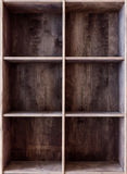 Blank wooden bookshelf, component of indastrial interior style. Royalty Free Stock Image