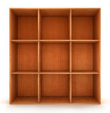 Blank wooden bookshelf Stock Photos