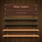 Blank wooden bookshelf. Vector Eps10 image Stock Photography