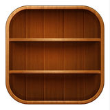 Blank wooden bookshelf. Vector illustration Royalty Free Stock Photography