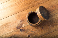 Blank wooden bowl on table background, top view Royalty Free Stock Photos