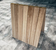 Blank wooden chalkboard on concrete floor. Mock up Royalty Free Stock Photo
