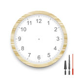 Blank wooden clock face Stock Photo