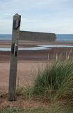 Blank Wooden Footpath Sign on North Norfolk Coast Royalty Free Stock Photos