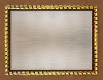 Blank wooden frame and border trimmed with gold ribbon. 3d illustration Stock Image