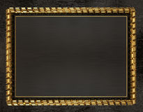 Blank wooden frame and border trimmed with gold ribbon. 3d illustration Royalty Free Stock Photo