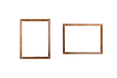 Blank wooden frame picture on white background. Stock Photo