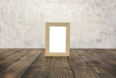 Blank wooden frames on the brown wood floor. Stock Photos