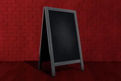 Blank Wooden Menu Blackboard Outdoor Display Stock Photo