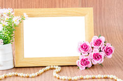 Blank wooden photo fame Stock Photos