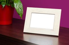 Blank wooden photo frame Royalty Free Stock Images