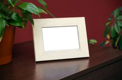 Blank wooden photo frame Stock Photo
